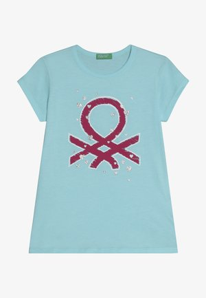 T-shirt med print - light blue