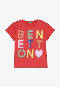 Benetton - T-shirt con stampa - red