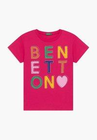Benetton - Triko spotiskem - pink - 0