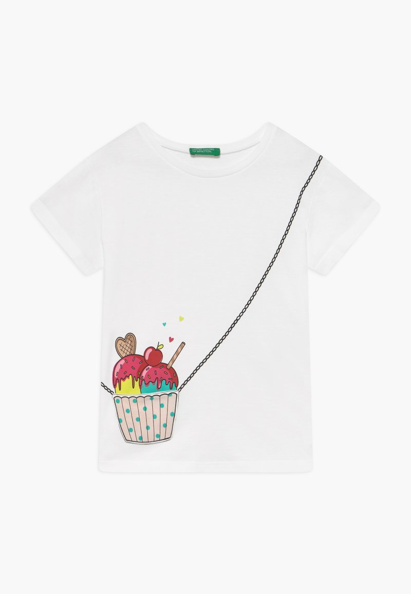 Benetton - T-shirt z nadrukiem - white