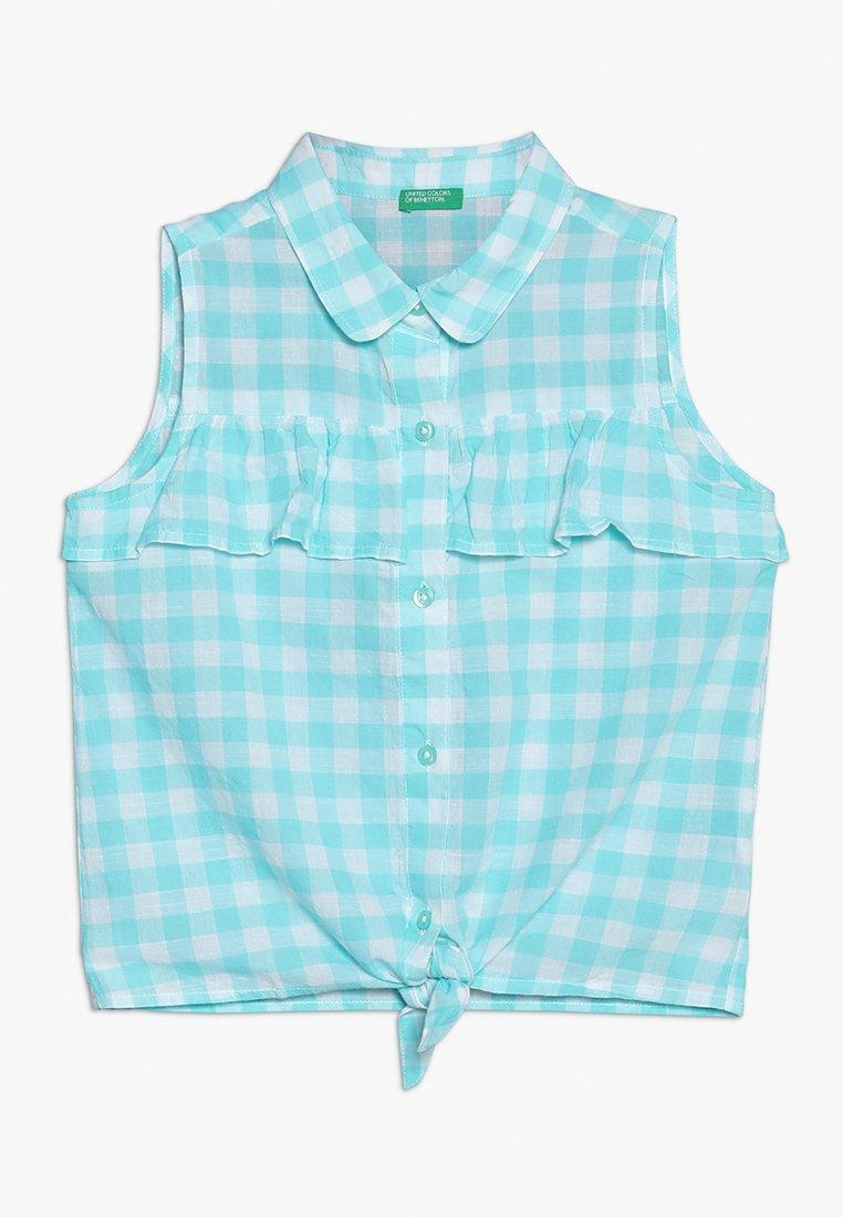 Benetton - SLEEVELESS - Košile - turquoise/white