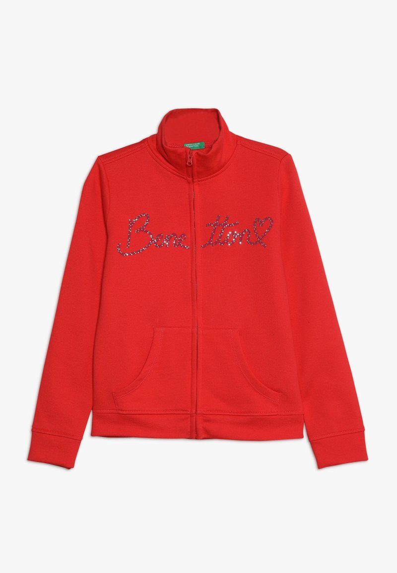 Benetton - JACKET - Huvtröja med dragkedja - red