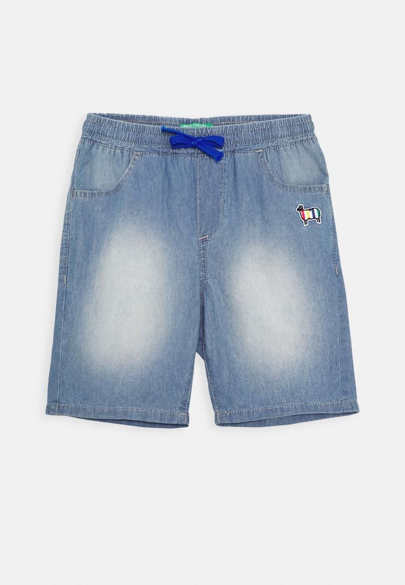 Benetton - BERMUDA - Denim shorts - light blue
