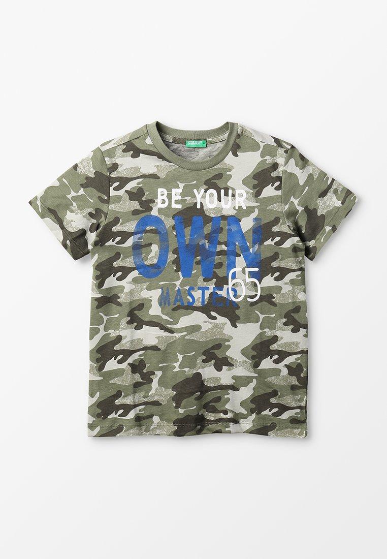 Benetton - T-shirt z nadrukiem - khaki