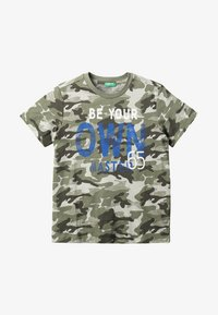 Benetton - T-shirt z nadrukiem - khaki - 2