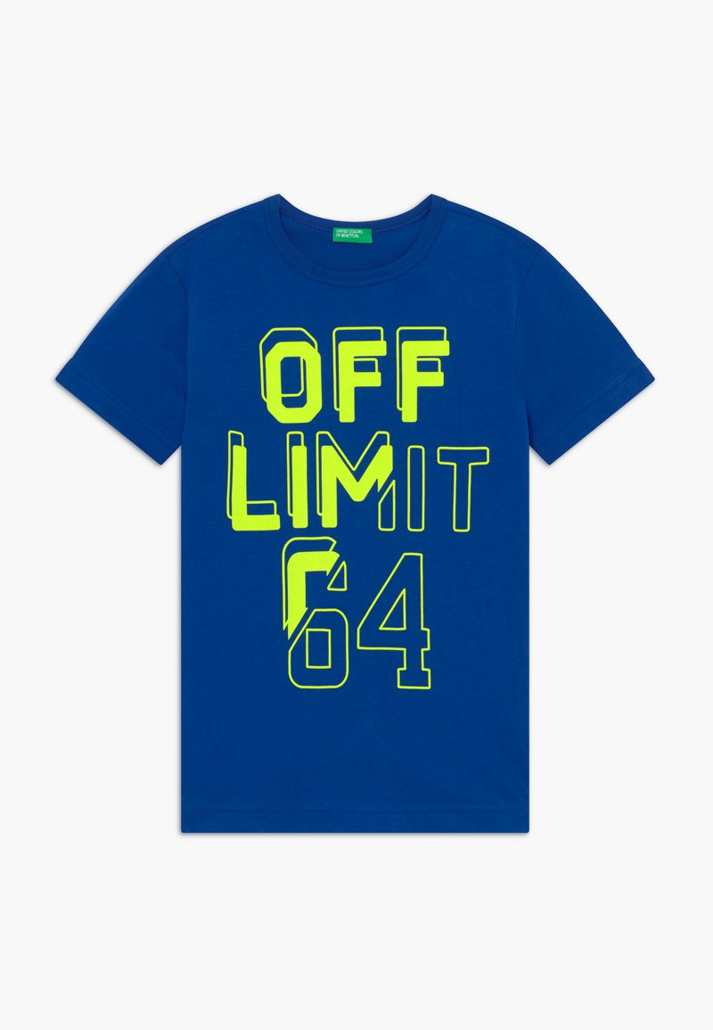 Benetton - T-shirt con stampa - blue/neon yellow