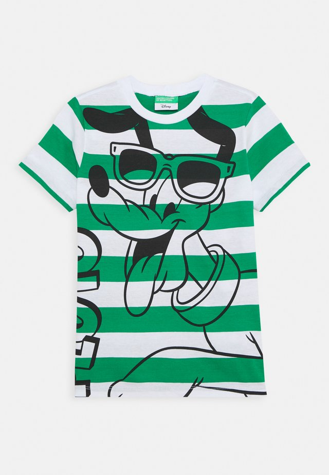 Print T-shirt - green/white