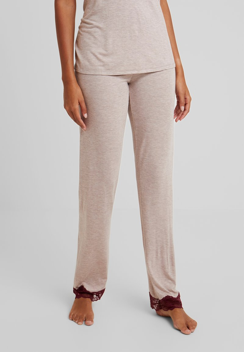 Benetton - TROUSERS - Pyjamasbukse - melange beige/bordeaux