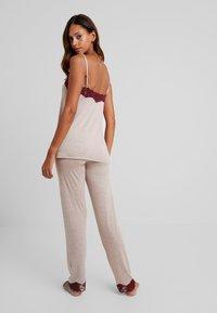 Benetton - TROUSERS - Pyjamasbukse - melange beige/bordeaux - 2