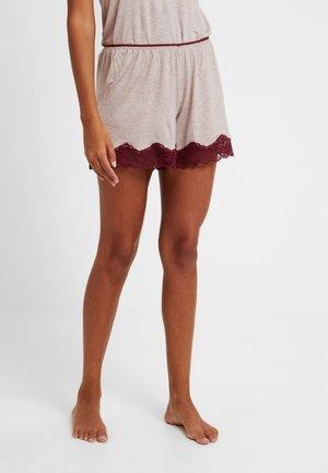 SHORTS - Pyjama bottoms - melange beige/bordeaux