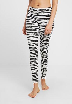 CARBON BRUSHED STRETCH LEGGINGS WITH REPEAT PATTERN - Pantaloni del pigiama - black/white