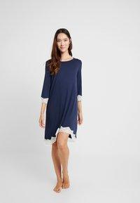 Benetton - NIGHT DRESS FLUID SLEEVES - Noční košile - blue - 1