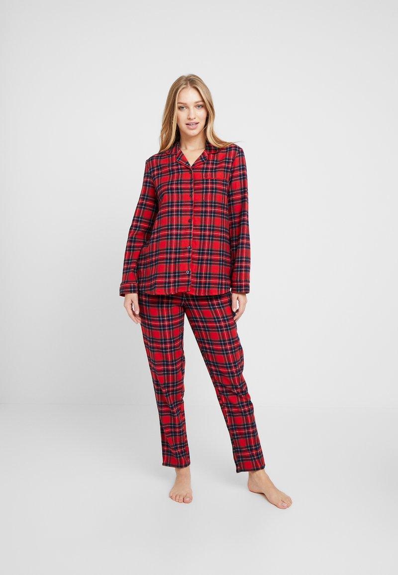 Benetton - DYED CHECK FRONT OPENING SET - Pyžamová sada - red tartan