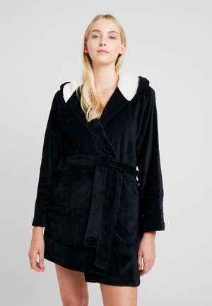 DRESSING GOWN WITH 3D DETAILS AND EMBROIDERY - Badjas - black