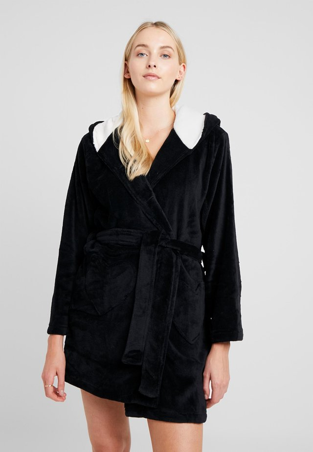 DRESSING GOWN WITH 3D DETAILS AND EMBROIDERY - Peignoir - black