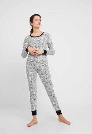 LONG SLEEVE IN ALL-OVER PRINTED FABRIC PANTS SET  - Nachtwäsche Set - black/white
