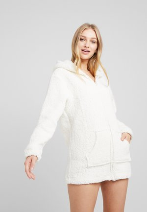 DRESSING GOWN WITH 3D DETAILS AND EMBROIDERY - Albornoz - creamy white