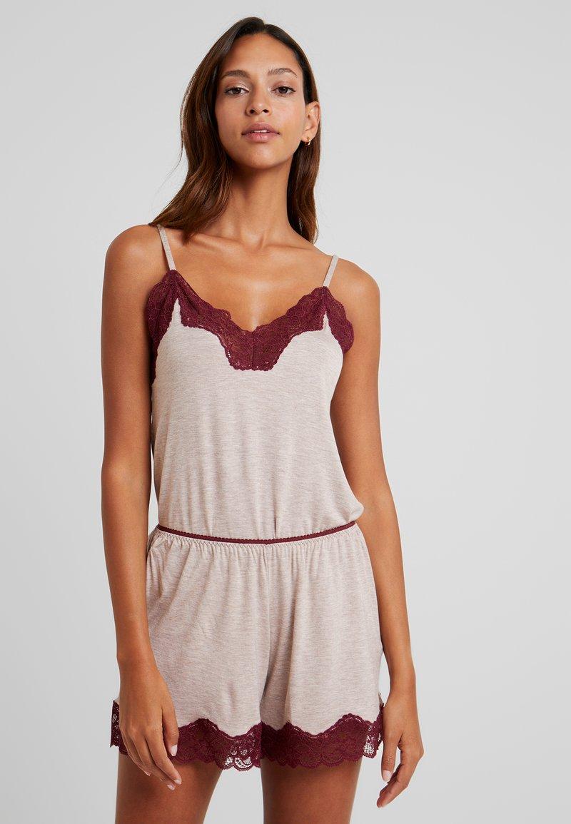 Benetton - TANK - Pyjama top - melange beige/bordeaux