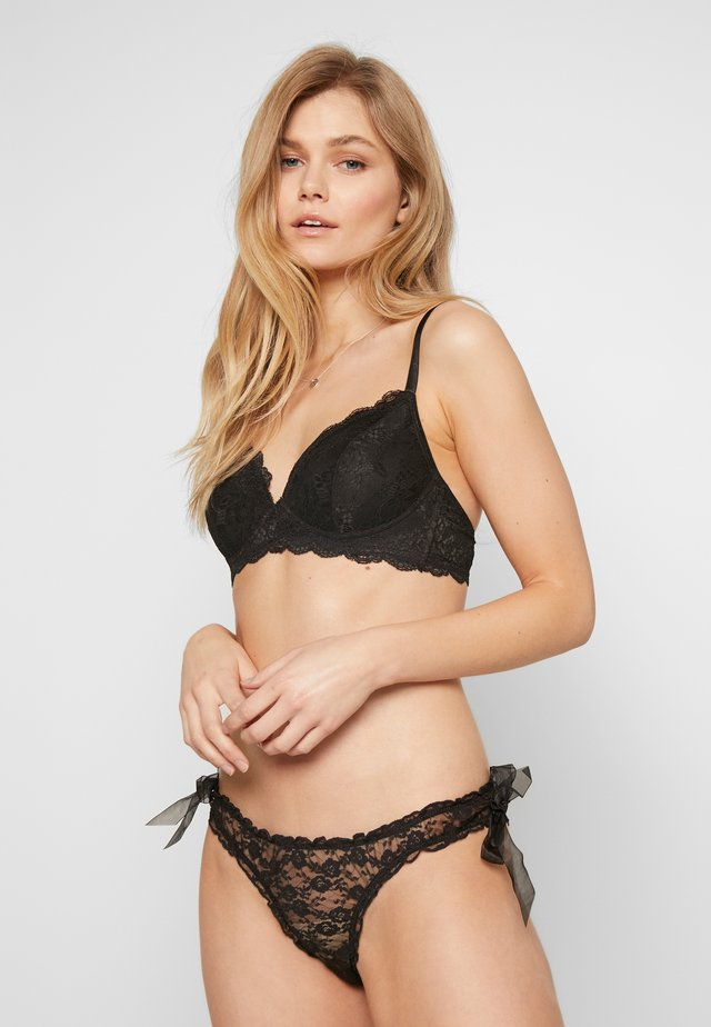 BRIEF WITH VOILE BOW ON SIDES - Kalhotky/slipy - black