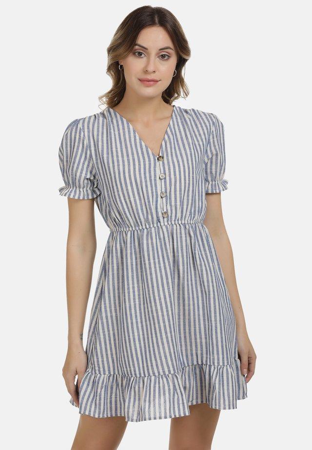 DREIMASTER KLEID - Shirt dress - blau weiss