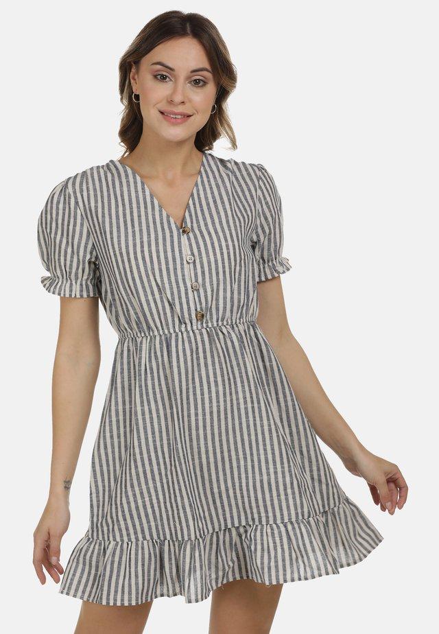 DREIMASTER KLEID - Shirt dress - marine weiss