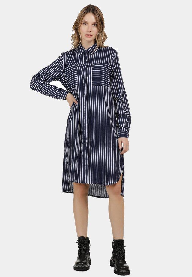 DREIMASTER HEMDKLEID - Shirt dress - marine gestreift