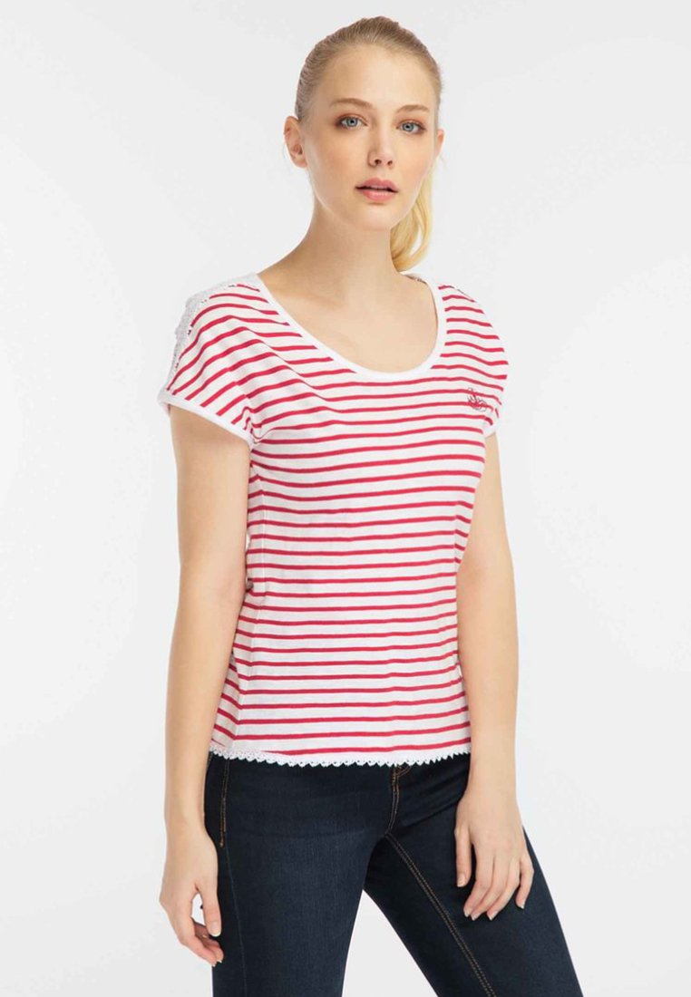 Dreimaster - Print T-shirt - red