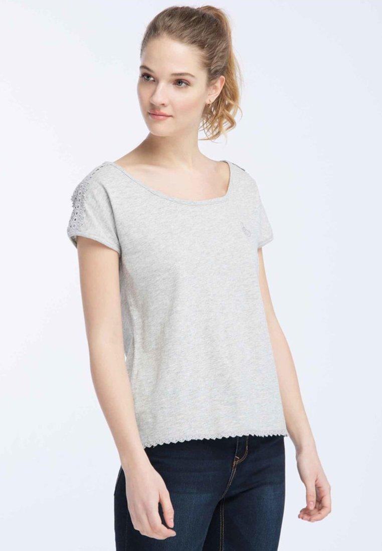 Dreimaster - Print T-shirt - light grey