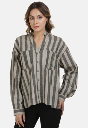 DREIMASTER BLUSE - Button-down blouse - nude schwarz