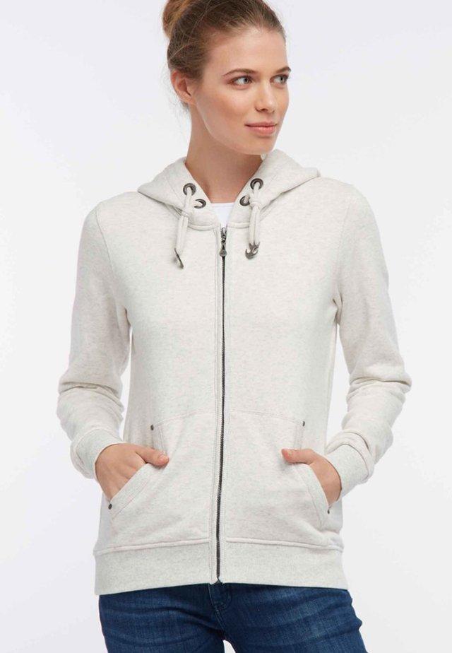 Zip-up hoodie - white melange