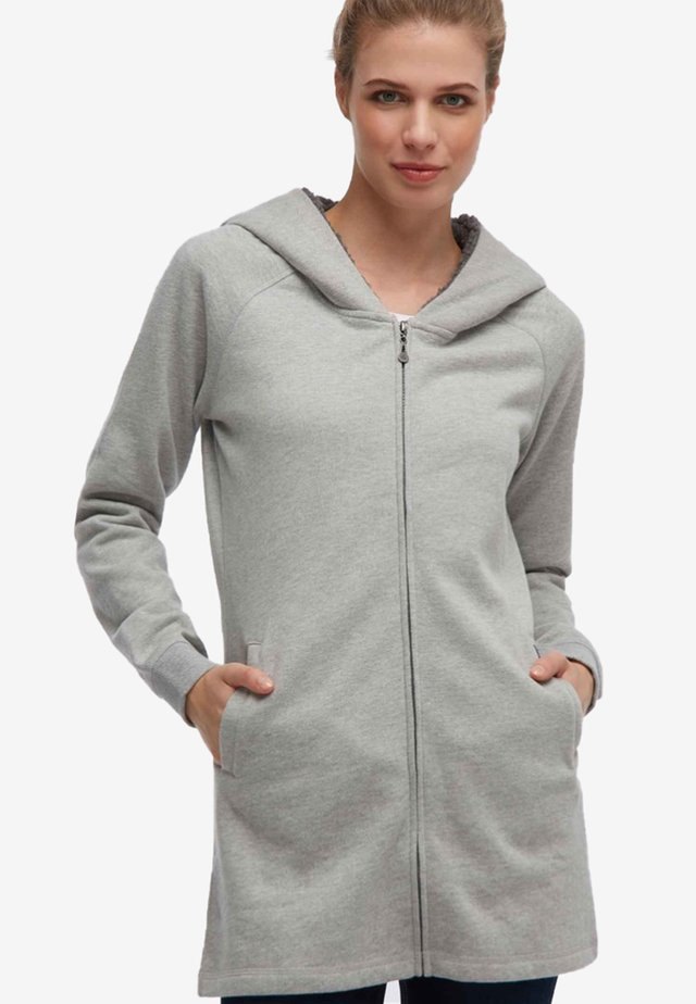 Hoodie met rits - mottled grey