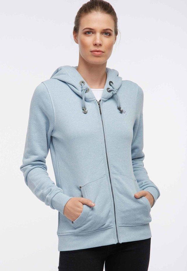 Zip-up hoodie - mottled light blue