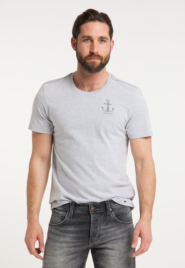 Print T-shirt - hellgrau melange