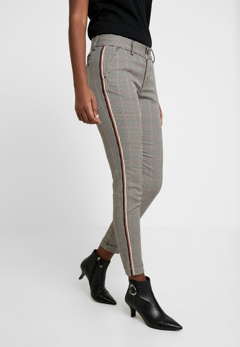Herrlicher - LOVELY POLY STRIPE CHECK - Trousers - beige