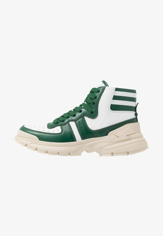 VARSITY BOLT - High-top trainers - green/white