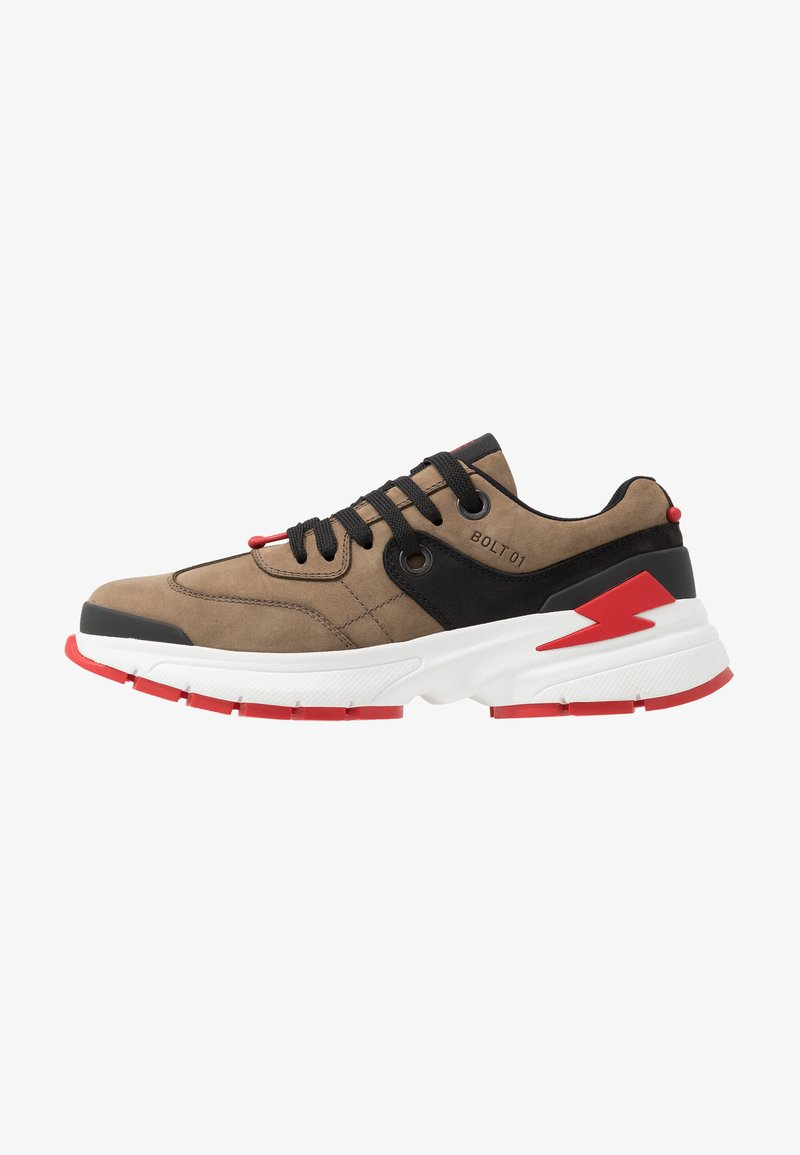Neil Barrett - BOLT01 - Baskets basses - khaki/black/red