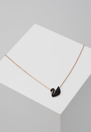 ICONIC SWAN PENDANT - Collana - rosegold-coloured/black
