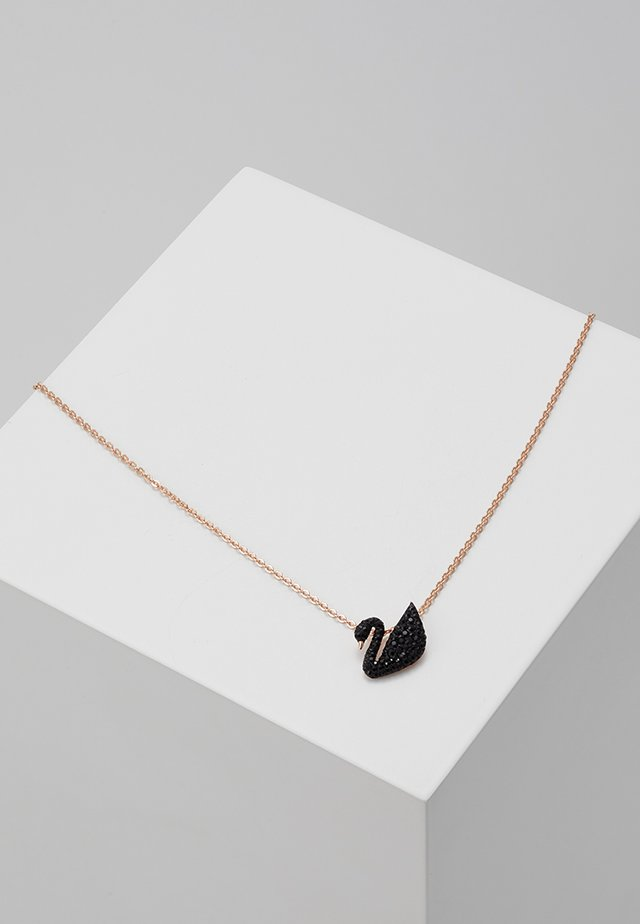 ICONIC SWAN PENDANT - Ketting - rosegold-coloured/black