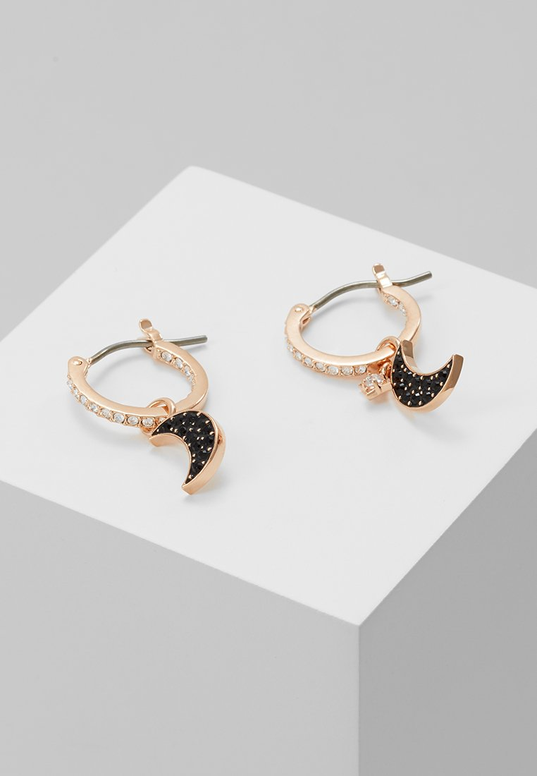 Swarovski - DUO HOOP MOON JET - Pendientes - rose gold-coloured/black