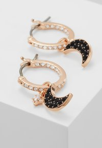 Swarovski - DUO HOOP MOON JET - Pendientes - rose gold-coloured/black - 5