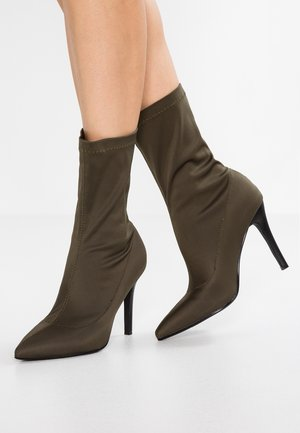STORM - High heeled ankle boots - dark grey scuba