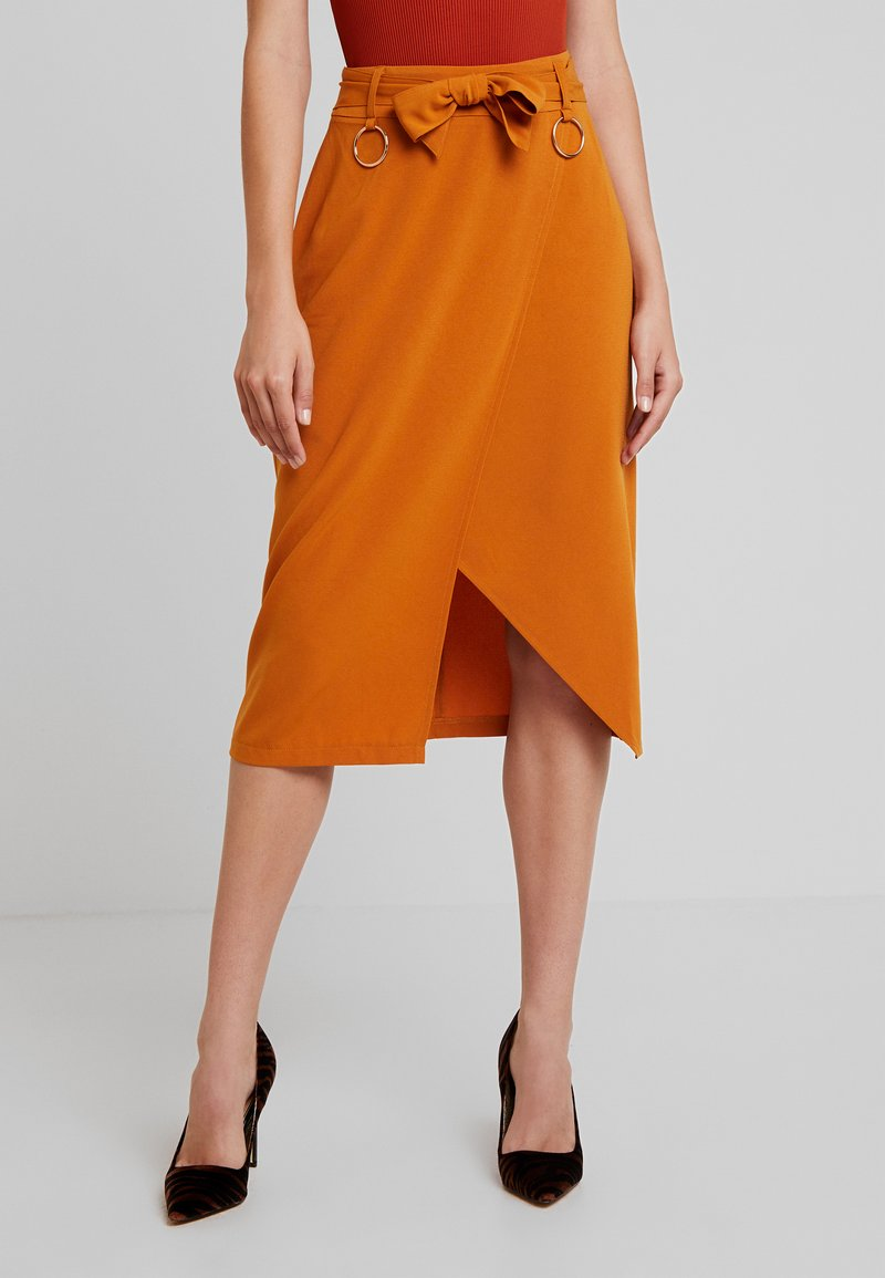 4th & Reckless - ALBABELTED MIDI SKIRT WITH RING DETAIL - Wrap skirt - ginger