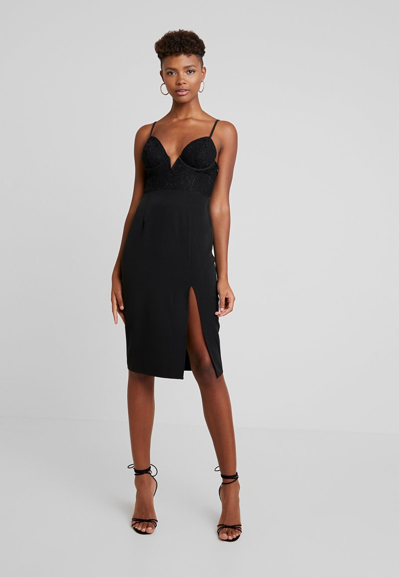 4th & Reckless - PORTER CUPPED MIDI DRESS WITH SIDE SPLIT - Cocktailkjole - black
