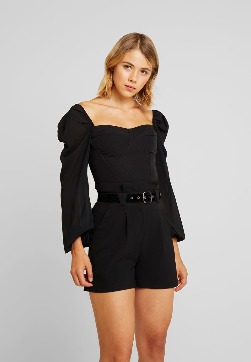 4th & Reckless - KRISTA BARDOT WITH PUFFED SLEEVES - Blouse - black