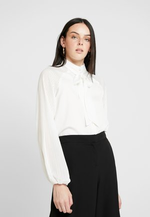 MAXWELL BODYSUIT WITH SHEER SLEEVE AND NECK TIE - Blouse - white
