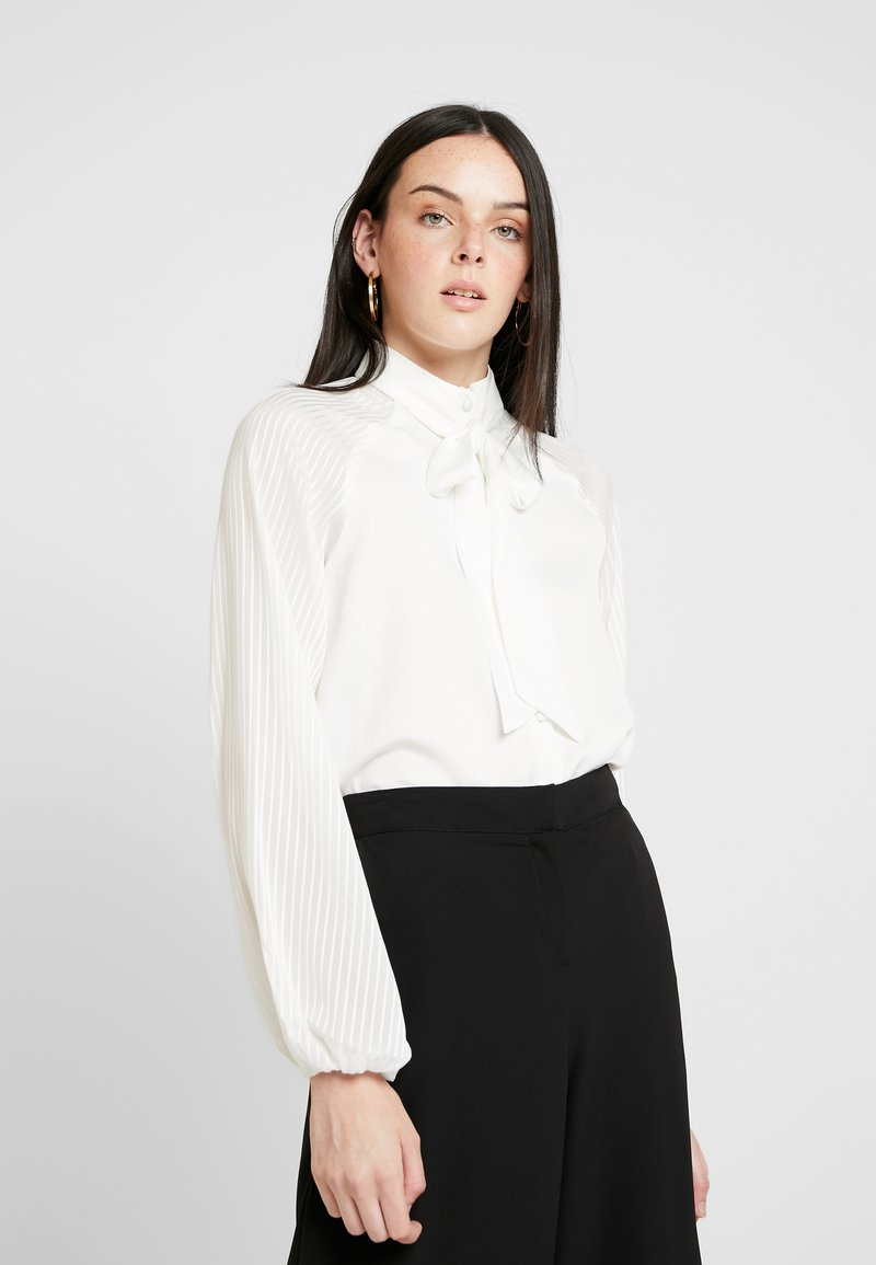 4th & Reckless - MAXWELL BODYSUIT WITH SHEER SLEEVE AND NECK TIE - Bluse - white