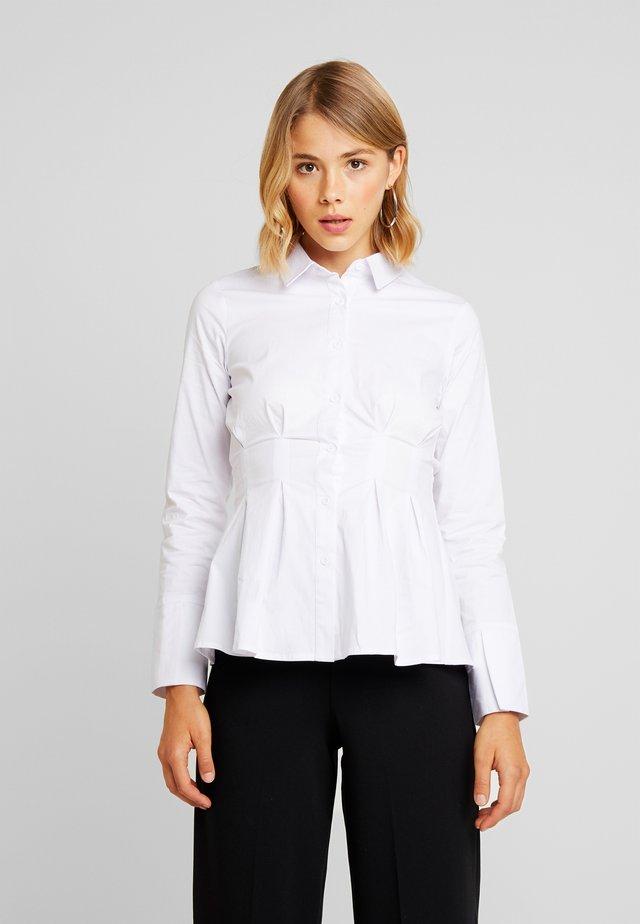 LESTER PLEATED SHIRT - Button-down blouse - white
