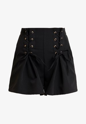 TYLER HIGH WAISTED WITH CORSET DETAIL - Kraťasy - black