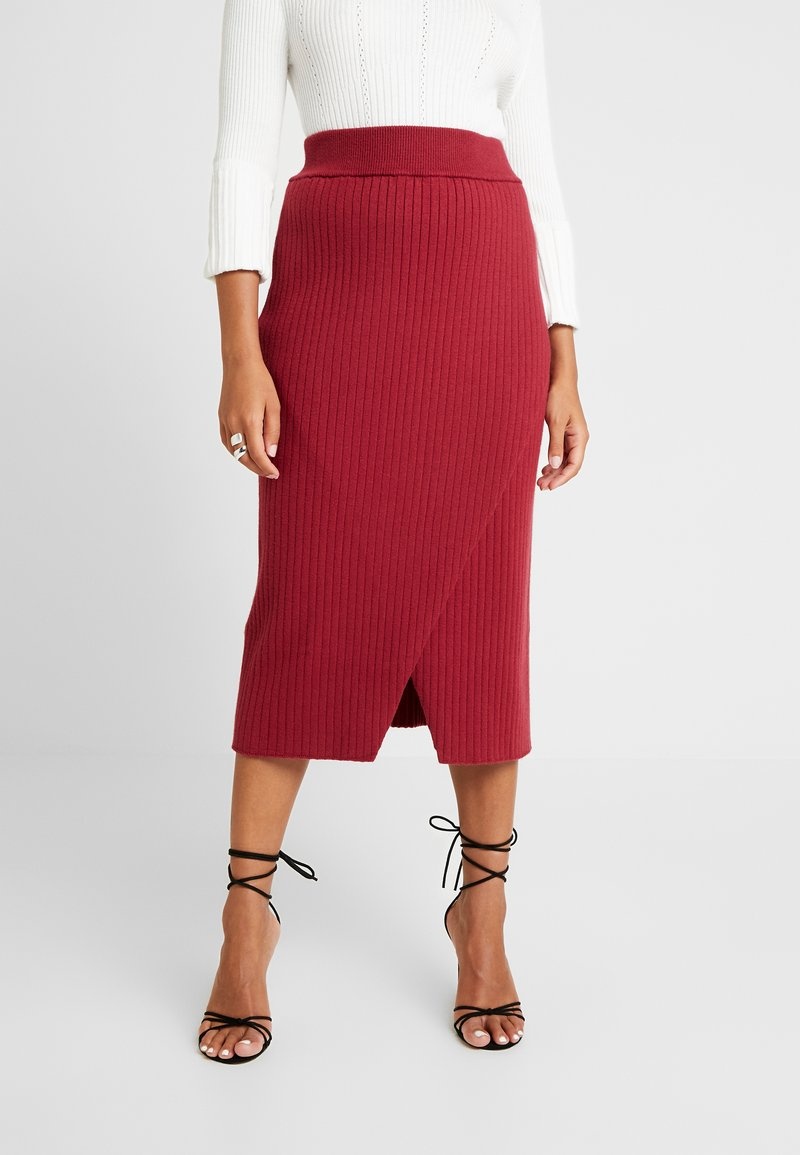 4th & Reckless Petite - MIA RECKLESS MIDI SKIRT WITH SPLIT - Pencil skirt - rust