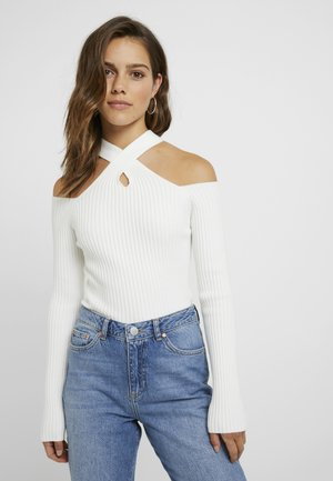 STATE LONG SLEEVED HALTERNECK JUMPER WITH CROSS  - Stickad tröja - white